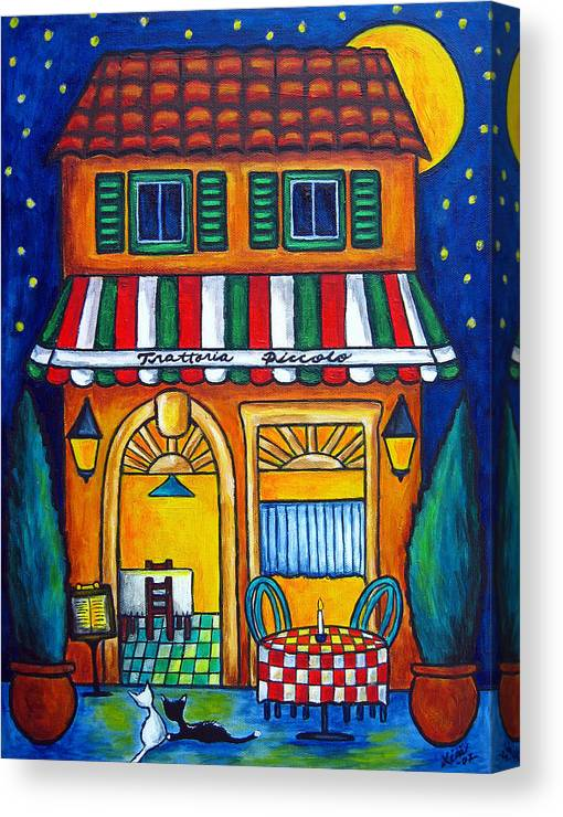 Blue Canvas Print featuring the painting The Little Trattoria by Lisa Lorenz