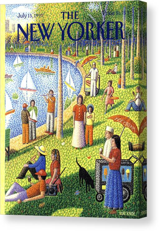 La Grande Jatte Canvas Print featuring the painting The New Yorker July 15th, 1991 by Bob Knox
