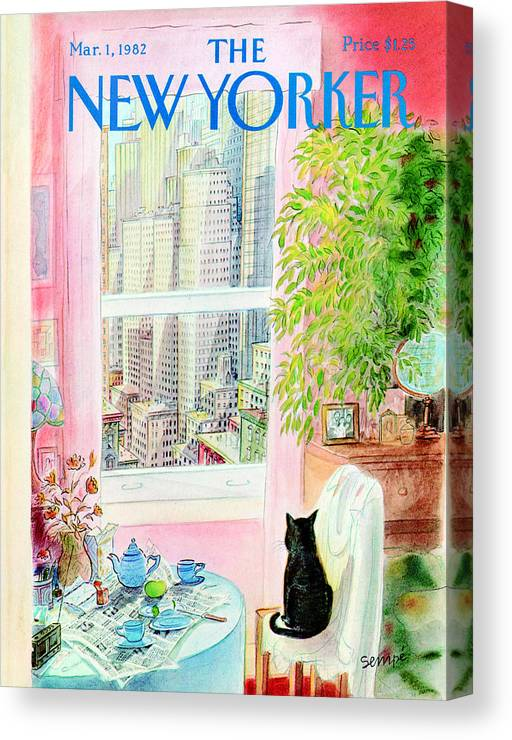 Apartment Canvas Print featuring the photograph The New Yorker Cover - March 1, 1982 by Jean-Jacques Sempe