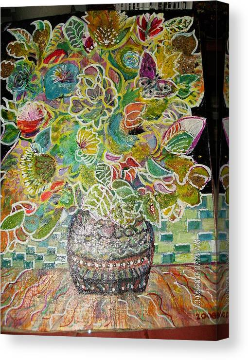 Bright Canvas Print featuring the mixed media The Painted Ladies by Anne-Elizabeth Whiteway