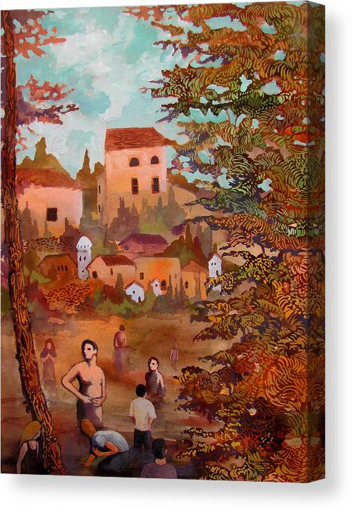 Scenery Landscape Trees Autumn People Men Women River Bathing Wading Houses Bucolic Vegetation Complementary Color Unity Variety Canvas Print featuring the painting Those That Wait For Apocalypses by James Huntley