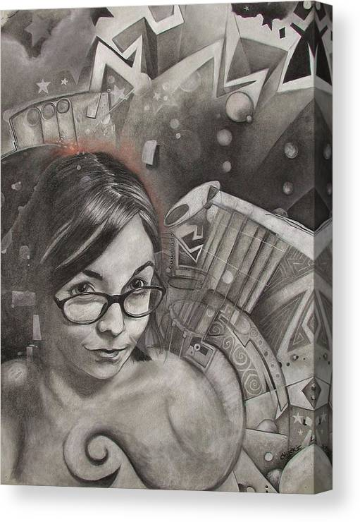Face Canvas Print featuring the drawing Vanessa by Charles Creasy Jr