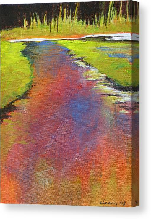 Landscape Canvas Print featuring the painting Water Garden Landscape 6 by Melody Cleary