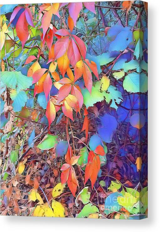Autumn Canvas Print featuring the digital art Autumn Leaves by Paola Baroni