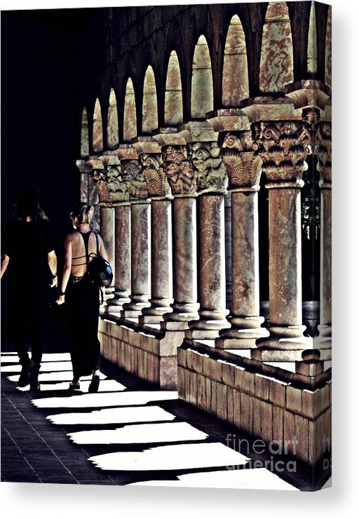 Building Canvas Print featuring the photograph Columns At The Cloisters 2  by Sarah Loft