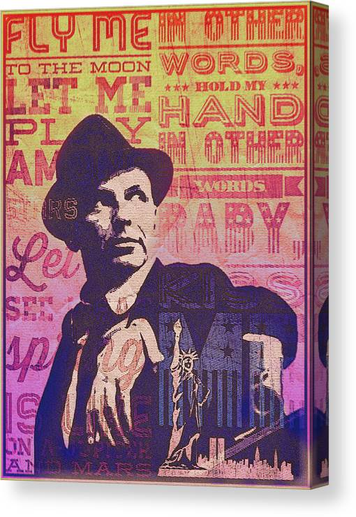 Frank Sinatra Canvas Print featuring the digital art Fly Me To The Moon by Sara Sutton