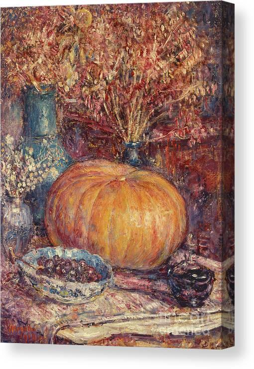 Still Life With Pumpkin Canvas Print featuring the painting Still Life With Pumpkin by George Morren