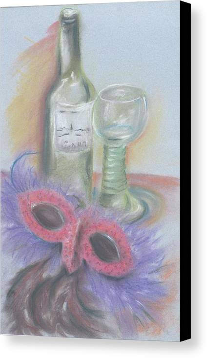 Still Life With Mask Canvas Print featuring the drawing Carnival by Kathy Mitchell