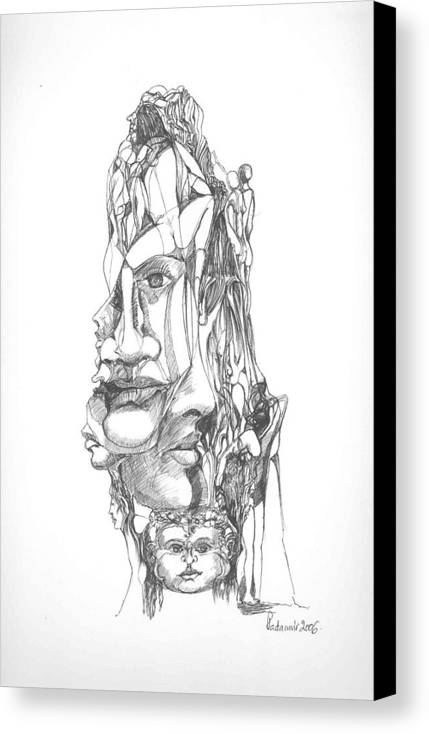 Surreal Canvas Print featuring the drawing In Your Head by Padamvir Singh