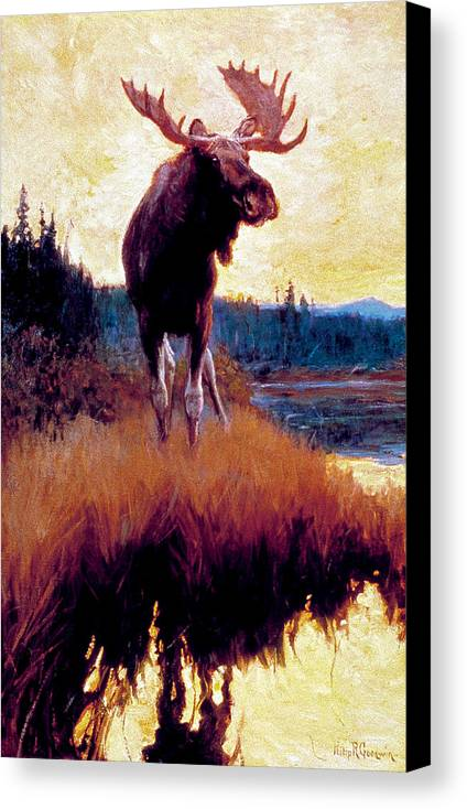 Moose Canvas Print featuring the painting Moose Against Skyline by Phillip R Goodwin