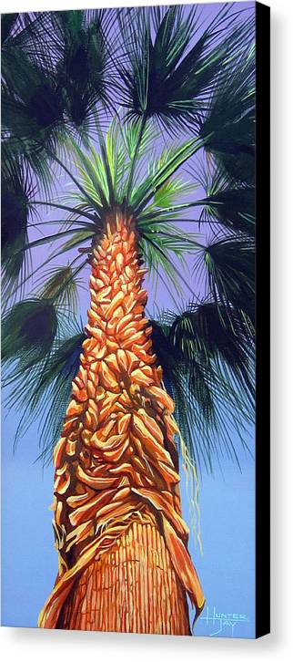 Palm Tree In Palm Springs California Canvas Print featuring the painting Holding Onto The Earth by Hunter Jay