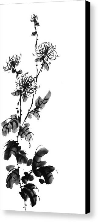 Painting Canvas Print featuring the painting Chrysanthemum3 by Chang Lee