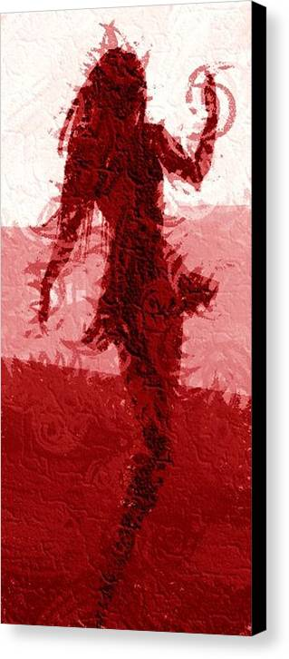 Woman Canvas Print featuring the digital art Flaming Raven by Margie Byrne