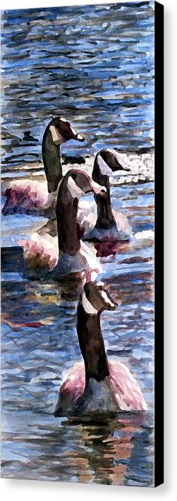 Geese Canvas Print featuring the painting Gaggle Of Geese by Jim Phillips