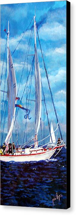 Sailboat Canvas Print featuring the painting Profile Of A Sailboat by Jim Phillips
