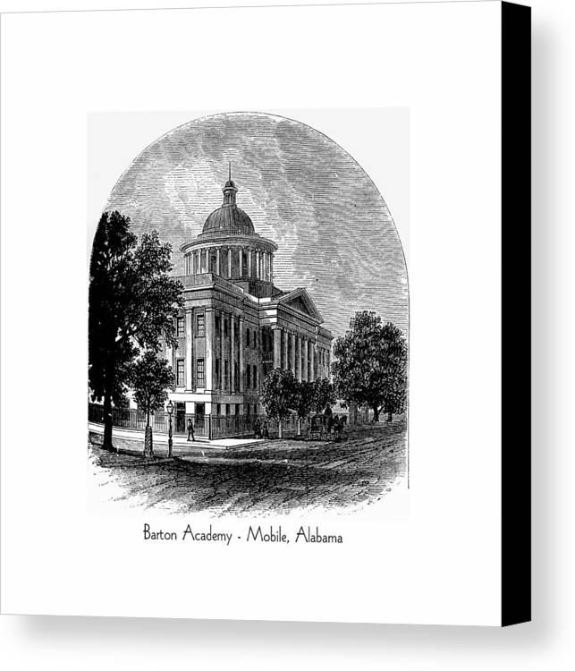 Mobile Canvas Print featuring the digital art Barton Academy - Mobile Alabama by John Madison
