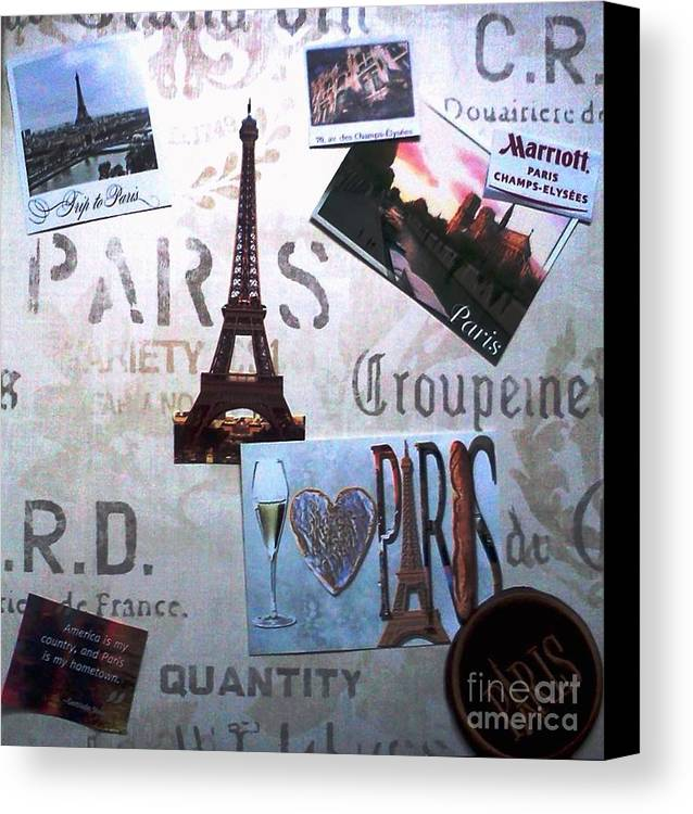 Paris Canvas Print featuring the mixed media I Love Paris by Rita Brown