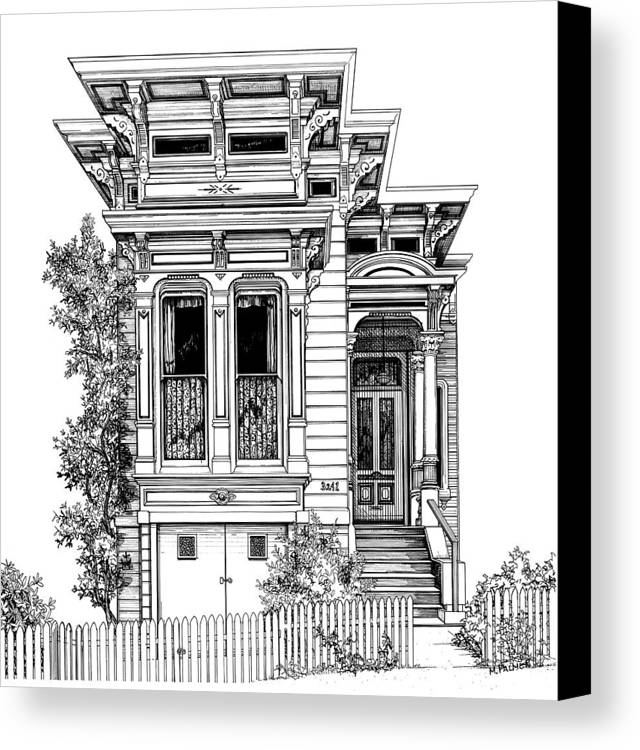 Pen And Ink Canvas Print featuring the drawing San Fracisco Victorian2 by Mary Palmer