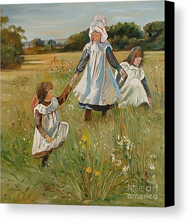 Classic Art Canvas Print featuring the painting Sisters by Silvana Abel