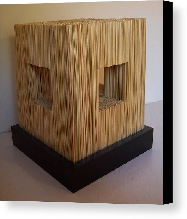 Wood Canvas Print featuring the sculpture Straw Cube by Daniel P Cronin