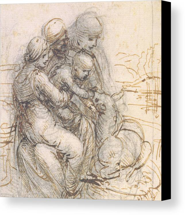 Madonna Canvas Print featuring the drawing Virgin And Child With St. Anne by Leonardo da Vinci
