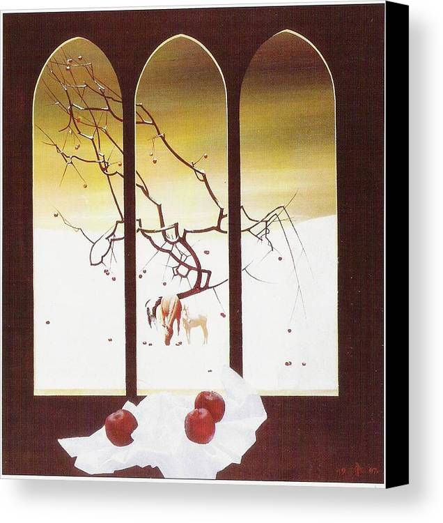 Still Life Canvas Print featuring the painting Winter by Andrej Vystropov
