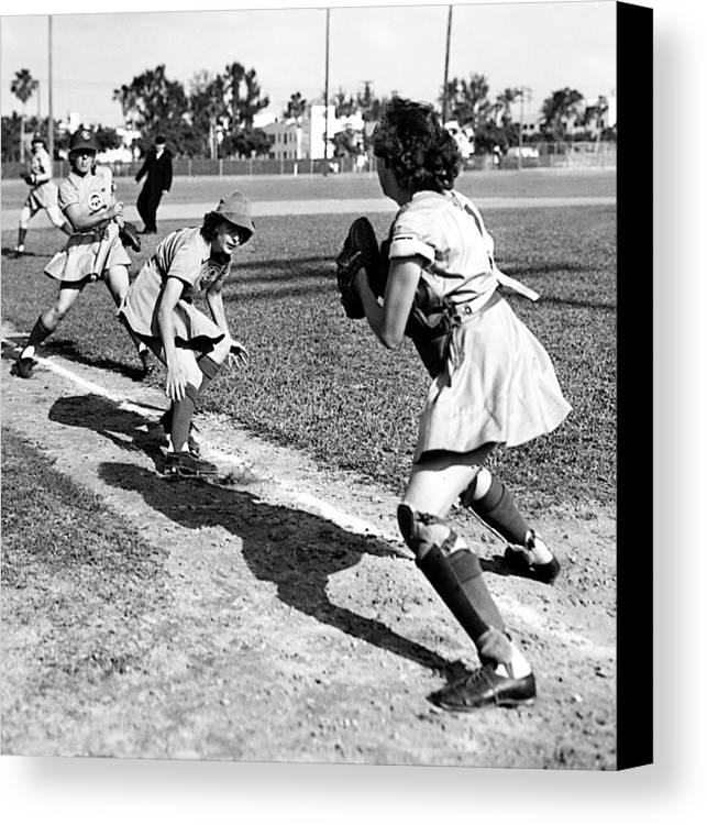 1940s Portraits Canvas Print featuring the photograph Baseball, Kenosha Comets Play by Everett
