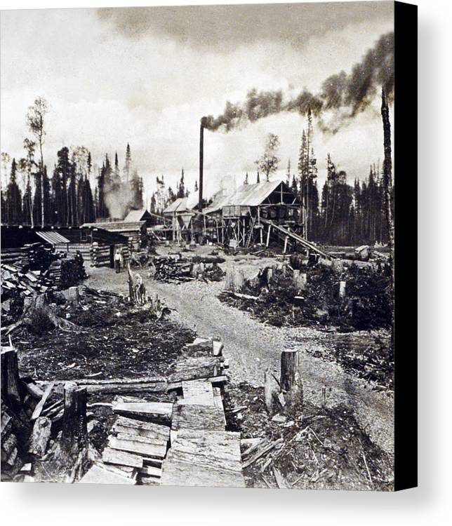 Concord Canvas Print featuring the photograph Concord New Hampshire - Logging Camp - C 1925 by International Images