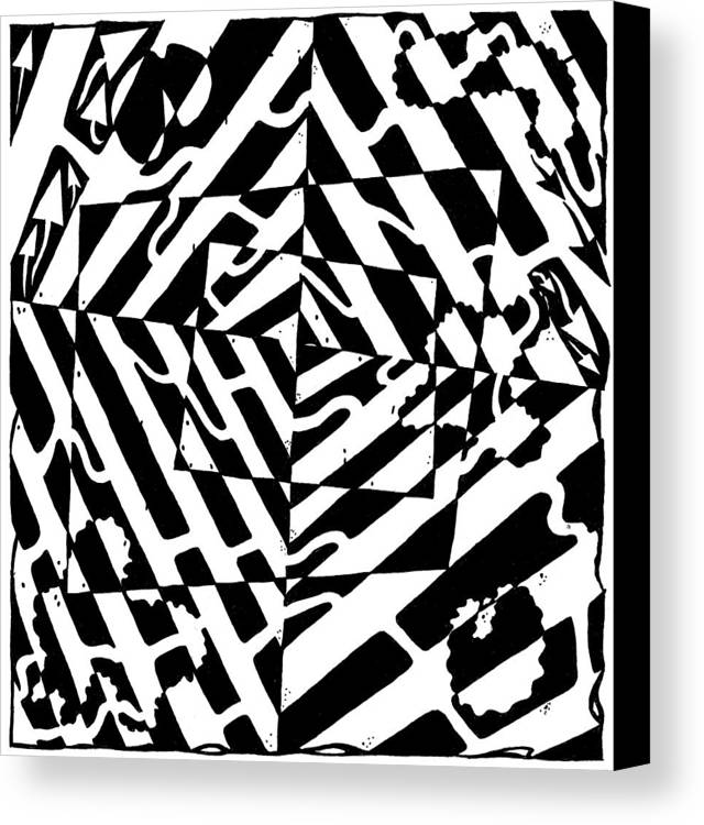 Chaos Canvas Print featuring the painting Chaos Maze Optical Illusion by Yonatan Frimer Maze Artist