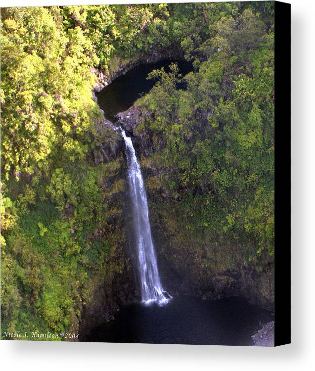 Landscape Canvas Print featuring the photograph Island Waterfall by Nicole I Hamilton