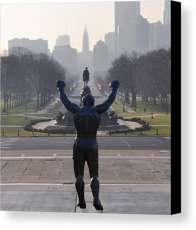 Philadelphia Champion - Rocky Canvas Print featuring the photograph Philadelphia Champion - Rocky by Bill Cannon