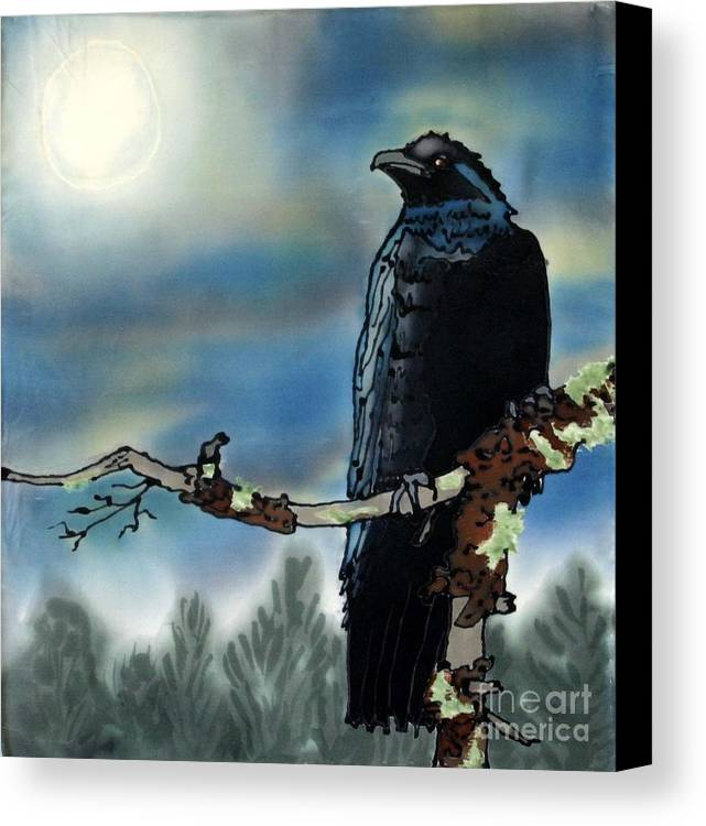 Silk Canvas Print featuring the painting Raven Moon by Linda Marcille