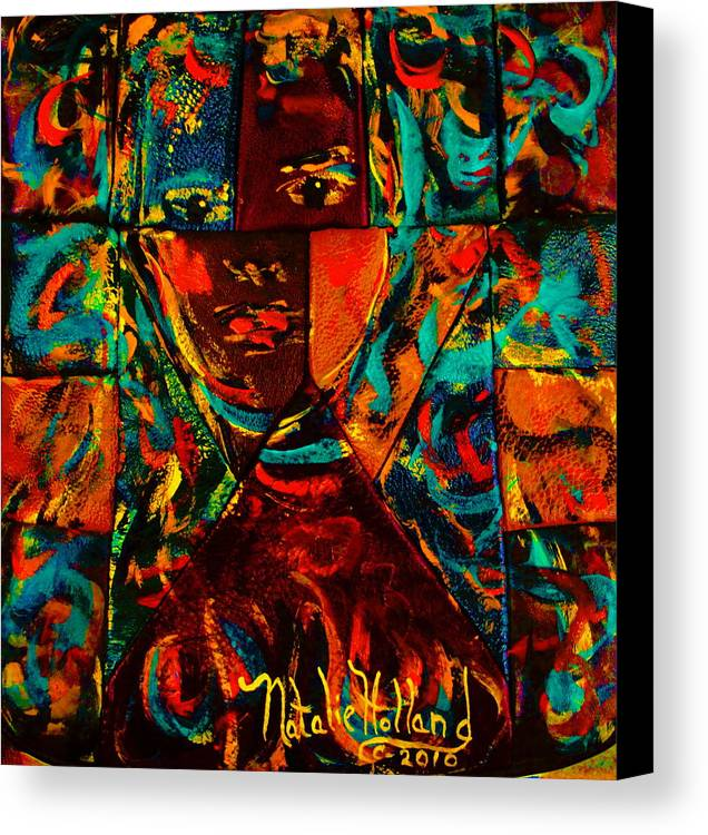 Abstract Canvas Print featuring the mixed media Split Personality by Natalie Holland