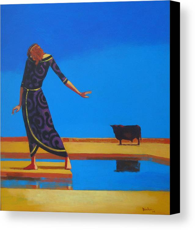 Figure Canvas Print featuring the painting The Goddess And The Bull by Ihab Bishai