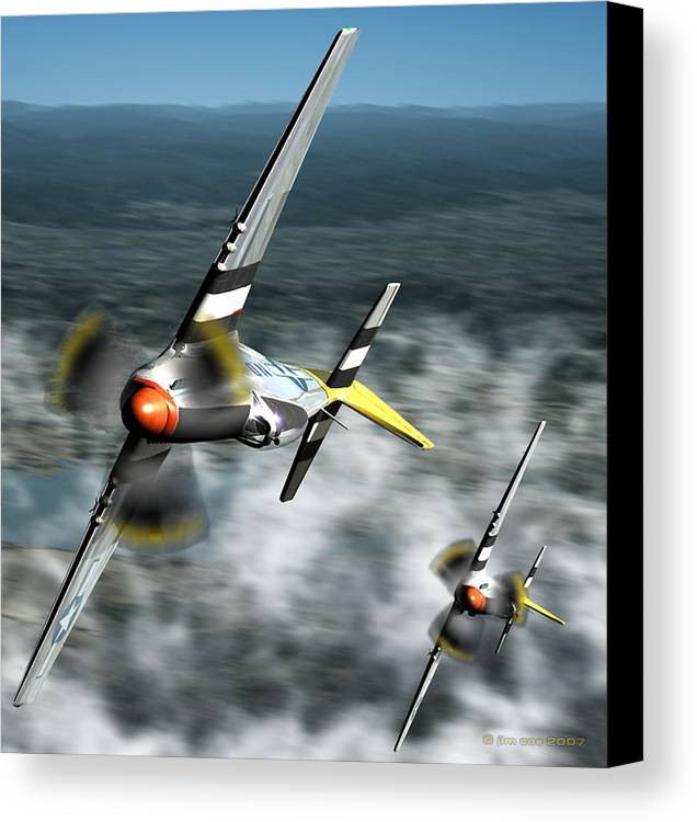 Jim Coe Canvas Print featuring the digital art Wingman by Jim Coe