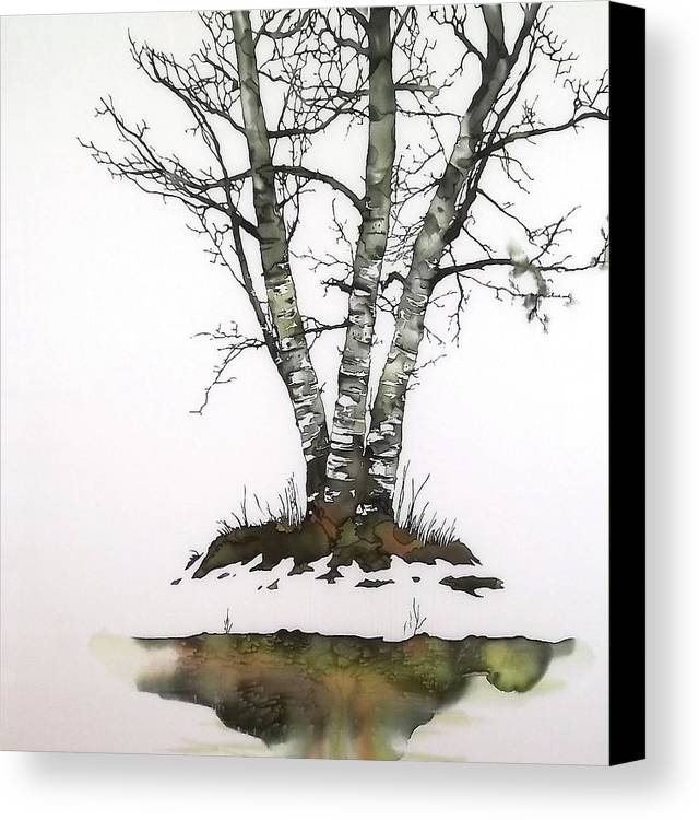 Birch Canvas Print featuring the tapestry - textile Winters Birch by Carolyn Doe
