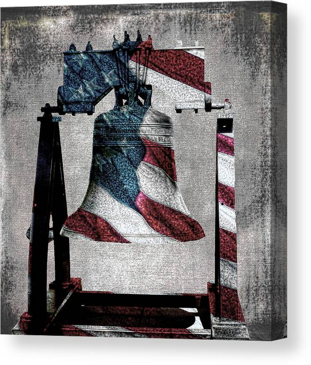 Americana Canvas Print featuring the mixed media All American Liberty Bell Art_denim by Lesa Fine