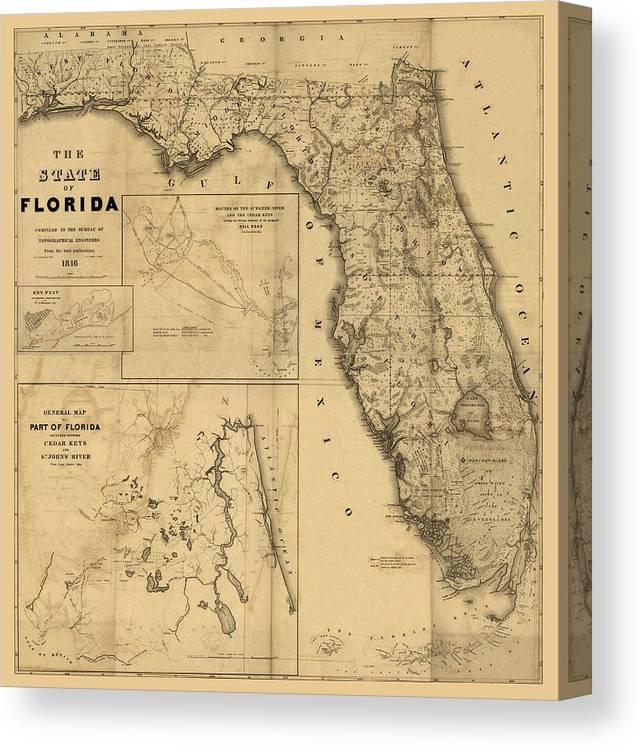 Florida Map Art Vintage Antique Map Of Florida Canvas Print