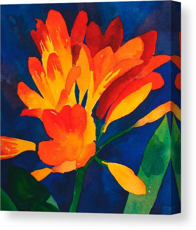 Orange Canvas Print featuring the painting Orange Tropical Flowers by Cory Behara