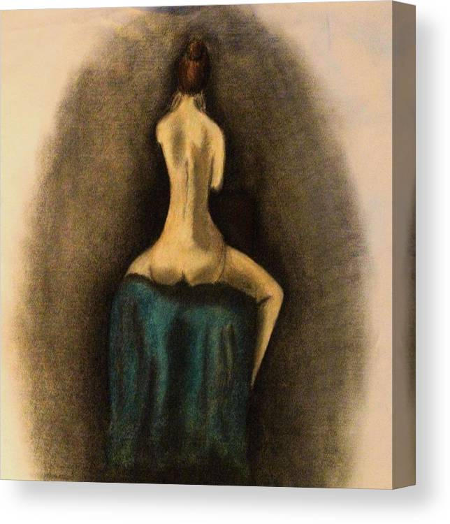 Nude Canvas Print featuring the drawing Through The Keyhole by Crystal Menicola