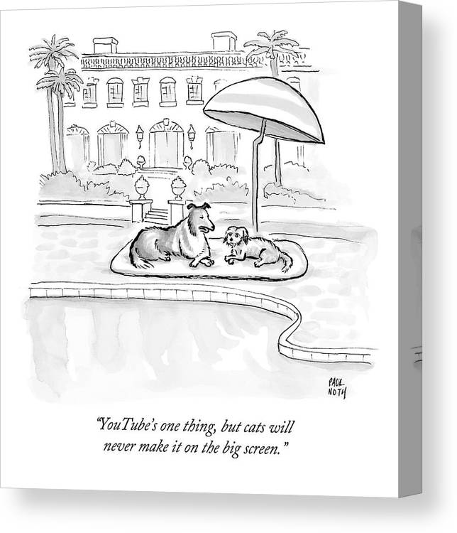 Dogs Canvas Print featuring the drawing Wealthy Dogs Discuss Cats In Hollywood by Paul Noth
