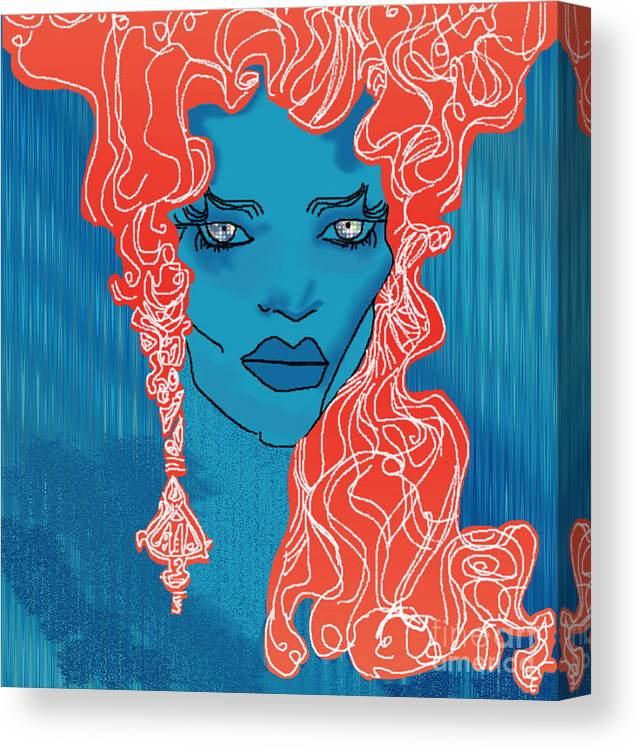 Blue Canvas Print featuring the digital art Cosmic Nightmare by Gia Simone