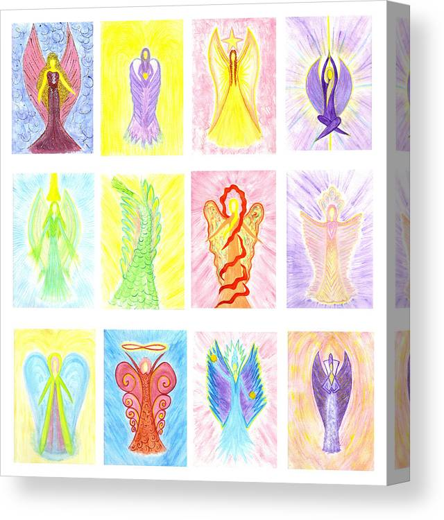 Angel Canvas Print featuring the painting Angels Of Virtue by Konstadina Sadoriniou - Adhen