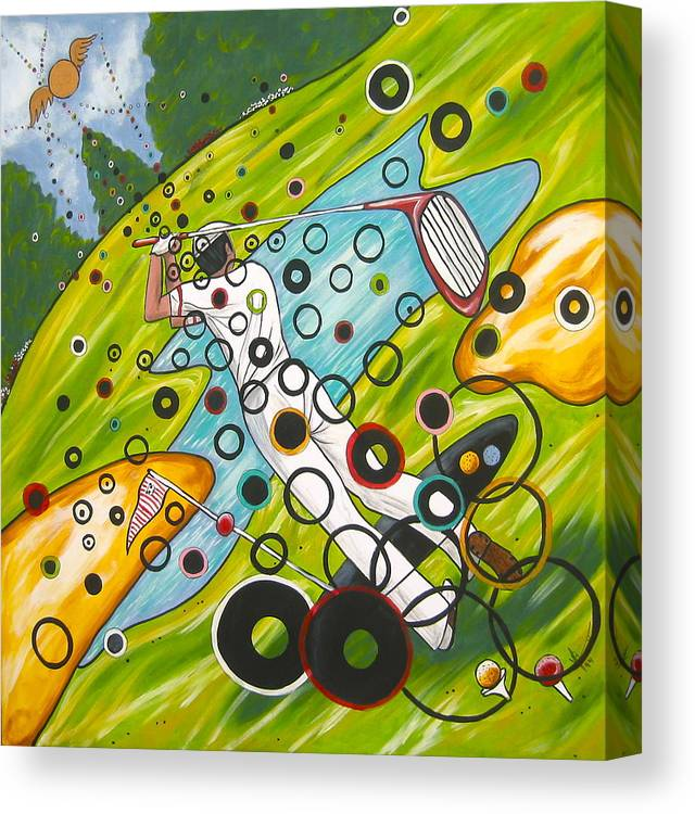Golf Canvas Print featuring the painting Heavenly Swing by V Boge