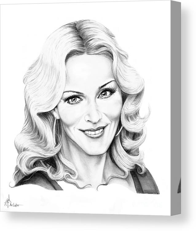 Drawing Canvas Print featuring the drawing Madonna by Murphy Elliott