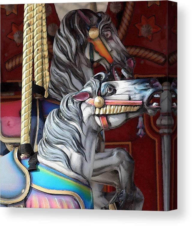 Merry-go-round Canvas Print featuring the photograph Magical Carousel by Mary Haber
