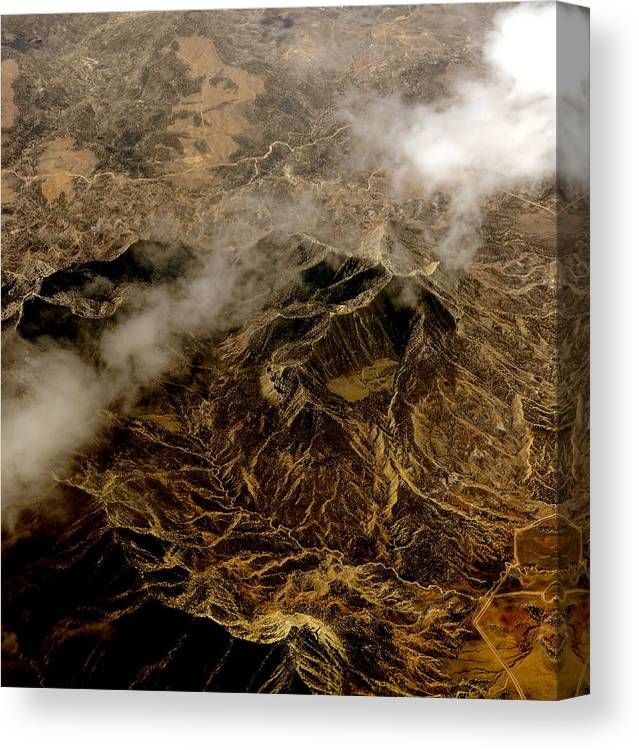 Photo From Airplane Canvas Print featuring the photograph Mountain From The Air by Gregory Colvin