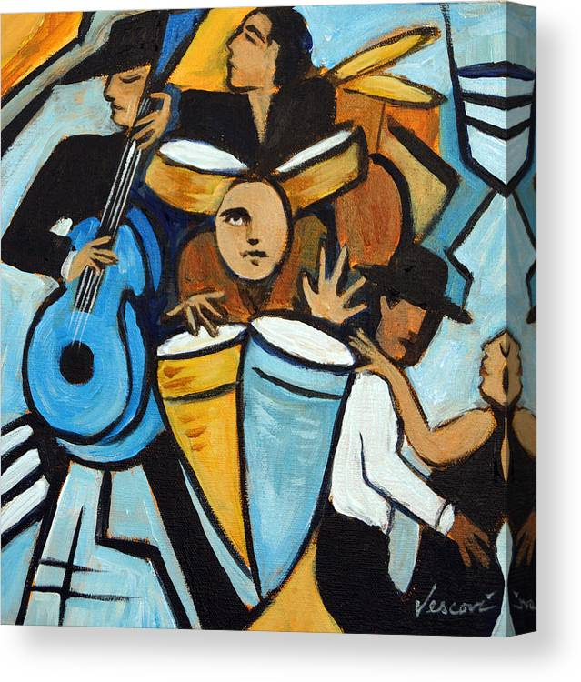 Cubist Salsa Dancers Canvas Print featuring the painting Salsa Night by Valerie Vescovi