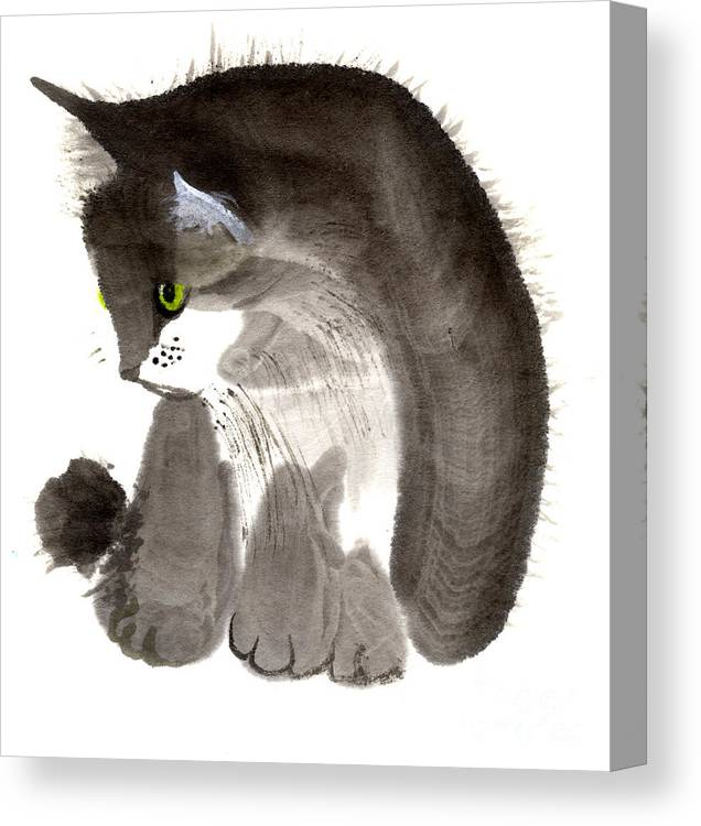 A Kitten Is Looking Attentively. This Is A Contemporary Chinese Ink And Color On Rice Paper Painting With Simple Zen Style Brush Strokes.  Canvas Print featuring the painting Kitten by Mui-Joo Wee