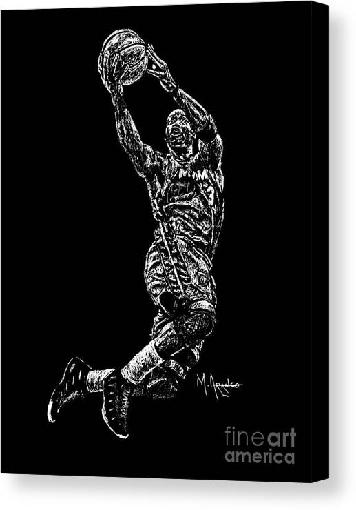 Dwyane Wade Canvas Print featuring the drawing D. Wade by Maria Arango
